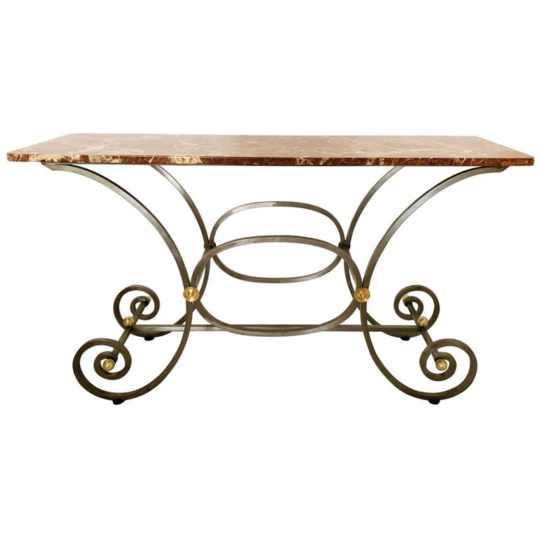 French Iron and Marble-Top Console For Sale