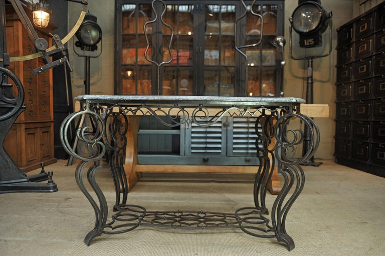 French Iron and Marble Top Louis 15 Style Console Table, circa 1940 For Sale 5