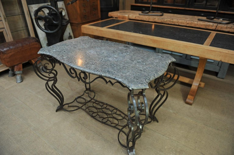 French iron and marble top Louis 15 Style console table, circa 1940.