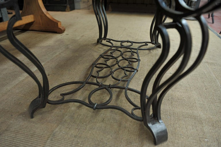 French Iron and Marble Top Louis 15 Style Console Table, circa 1940 In Good Condition For Sale In Roubaix, FR