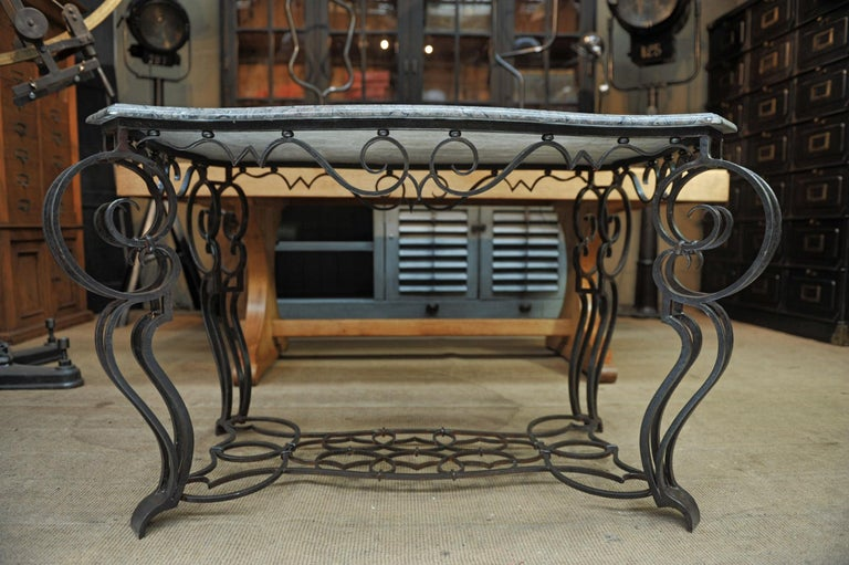 Mid-20th Century French Iron and Marble Top Louis 15 Style Console Table, circa 1940 For Sale