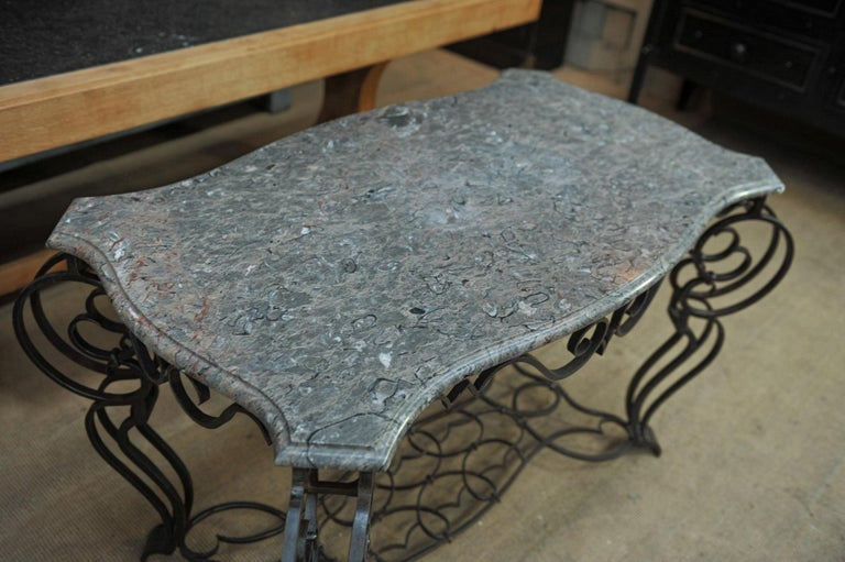 French Iron and Marble Top Louis 15 Style Console Table, circa 1940 For Sale 1