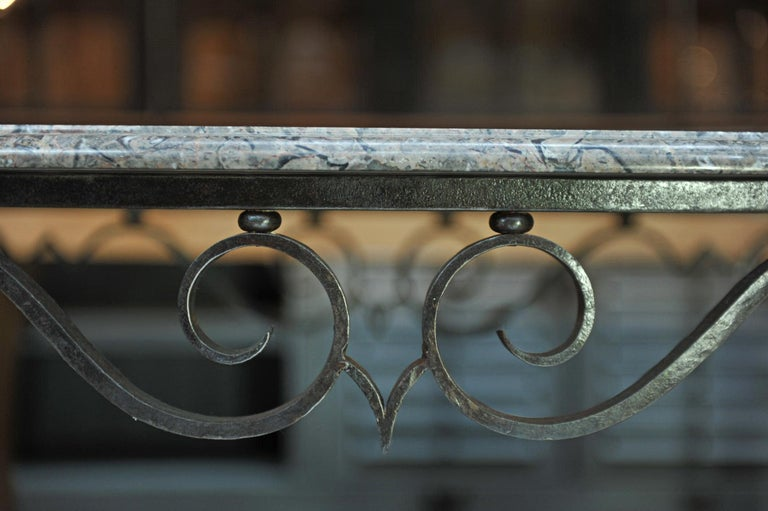 French Iron and Marble Top Louis 15 Style Console Table, circa 1940 For Sale 3