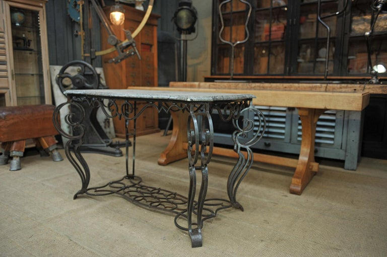 French Iron and Marble Top Louis 15 Style Console Table, circa 1940 For Sale 4
