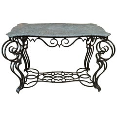 French Iron and Marble Top Louis 15 Style Console Table, circa 1940