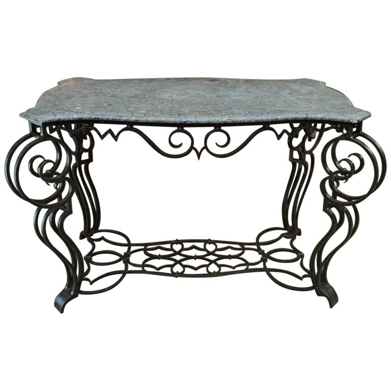 French Iron and Marble Top Louis 15 Style Console Table, circa 1940 For Sale