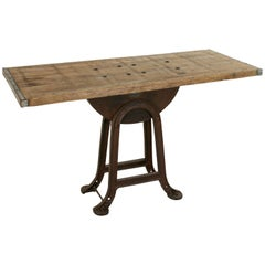French Iron and Oak Industrial Table, Console Table Aux Forges de Vulcain, Paris