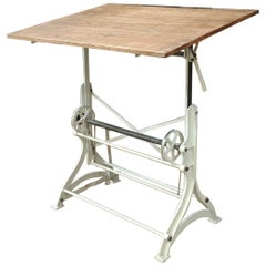 French Iron and Pine Top Adjustable Architect's Drafting Desk Table, 1900s