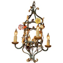 French Iron and Tole Leaf Lantern with Porcelain Flowers