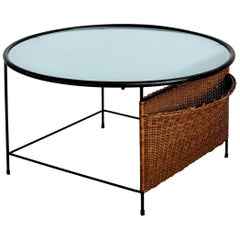 French Iron and Wicker Coffee Table