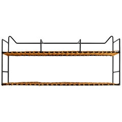 French Iron and Wicker Wall Shelf