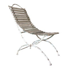 French Iron and Wood Garden Chaise, 19th Century