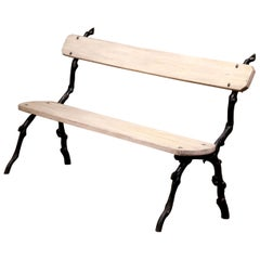 French Iron and Wood Painted Outdoor Public Bench from Normandy