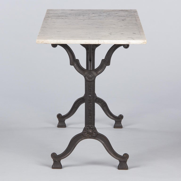 French Iron Base and Marble-Top Bistro Table, 1920s For Sale 4