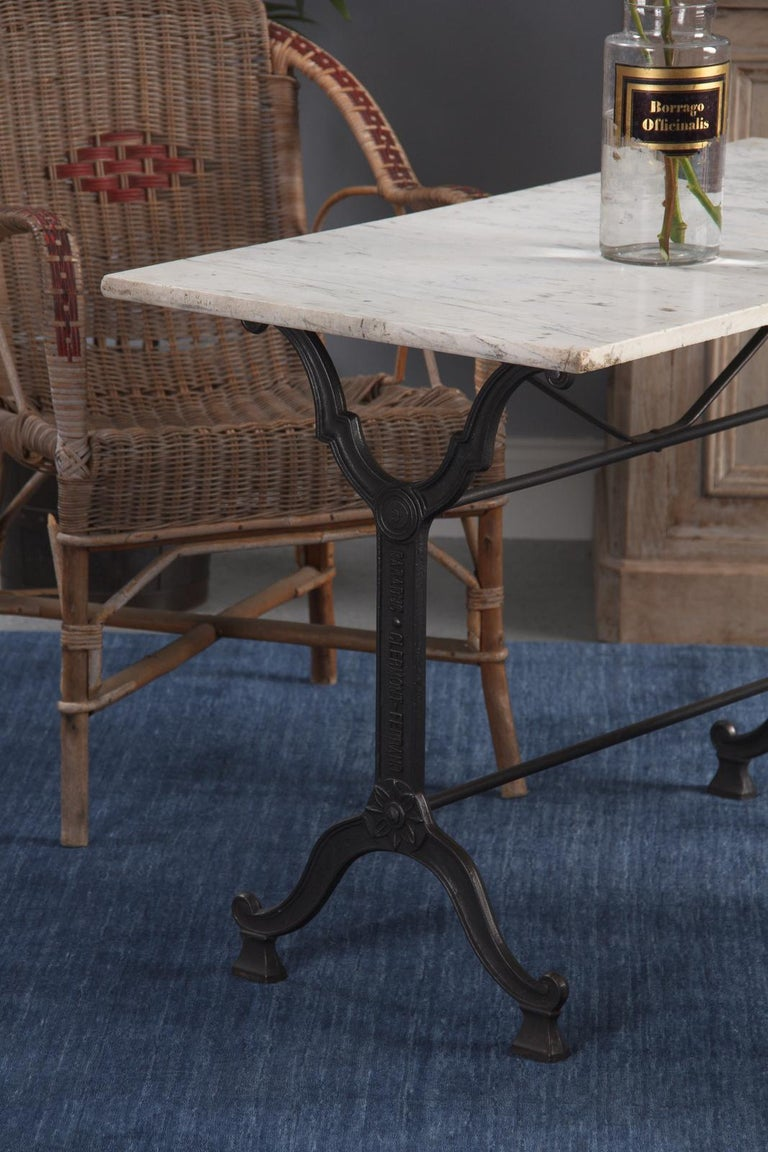 French Iron Base and Marble-Top Bistro Table, 1920s For Sale 5