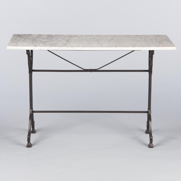 French Iron Base and Marble-Top Bistro Table, 1920s For Sale 9