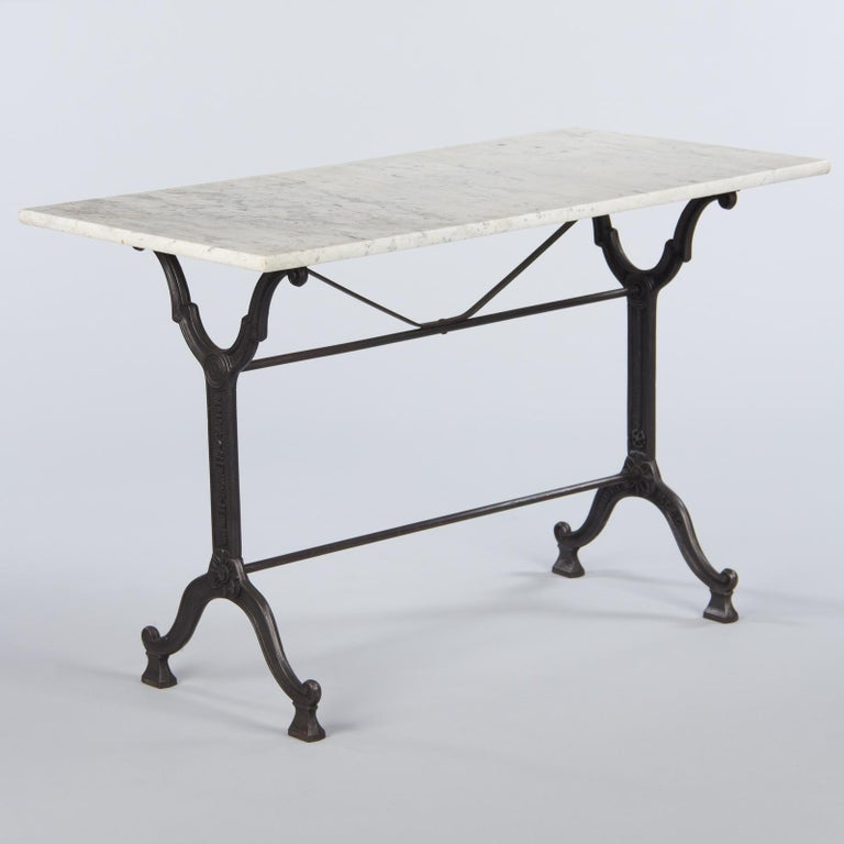 Industrial French Iron Base and Marble-Top Bistro Table, 1920s For Sale