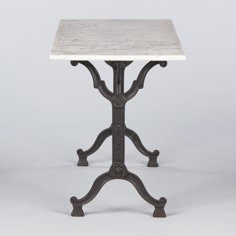 French Iron Base and Marble-Top Bistro Table, 1920s In Good Condition For Sale In Austin, TX