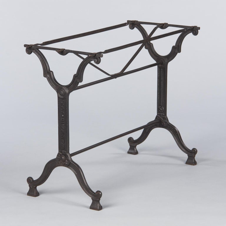 French Iron Base and Marble-Top Bistro Table, 1920s For Sale 2