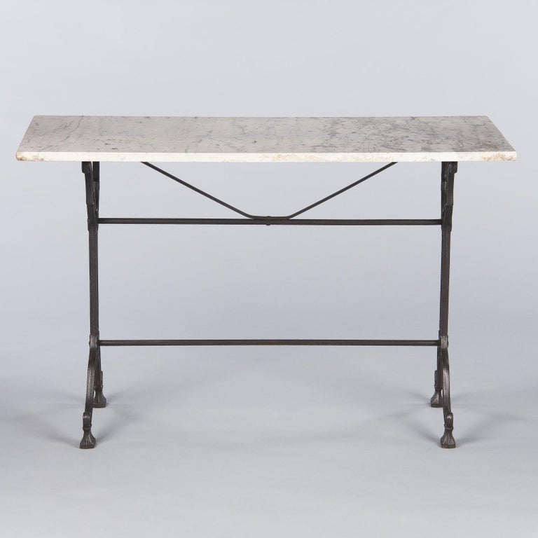 French Iron Base and Marble-Top Bistro Table, 1920s For Sale 3