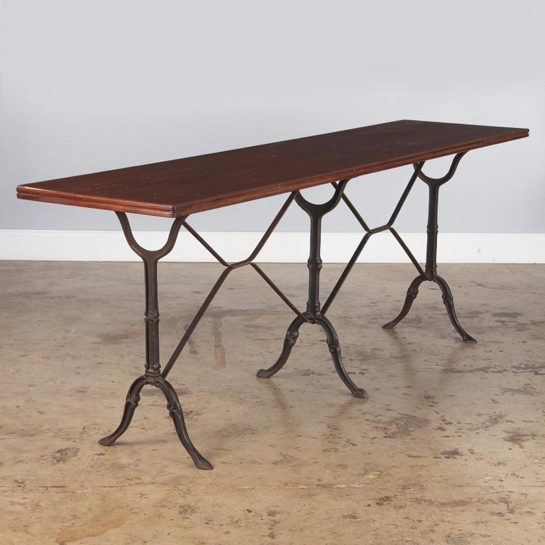 French Iron Base Bistro Table with Lacquered Wooden Top, 1920s For Sale 5