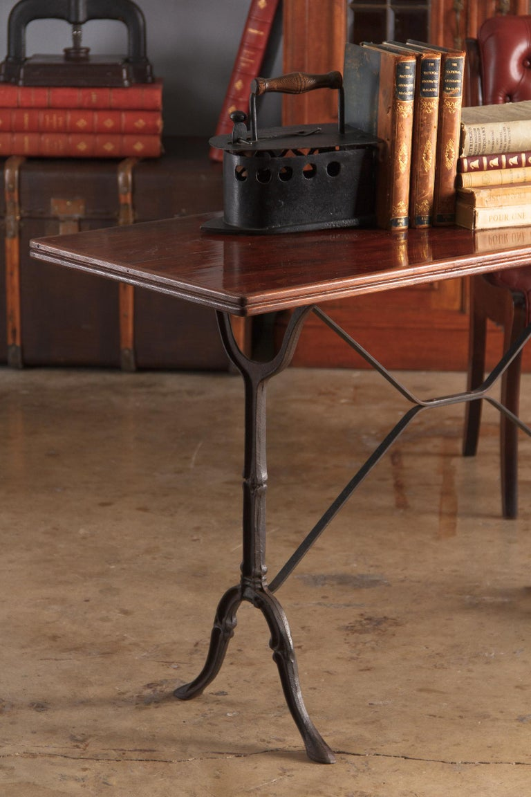 French Iron Base Bistro Table with Lacquered Wooden Top, 1920s For Sale 10