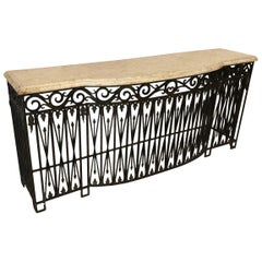 French Iron Base Credenza with Marble Top