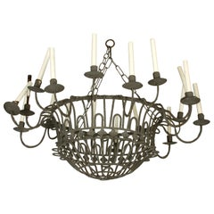 French Iron Basket Chandelier
