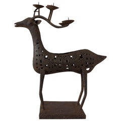 French Iron Candleholder Deer Christmas Gift or Decoration Midcentury
