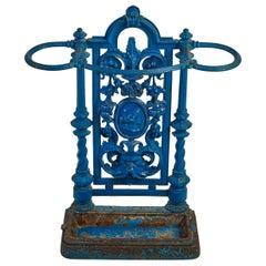 French Iron Cobalt Blue Iron Umbrella Stand