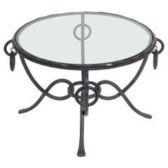 French Iron Coffee Table attributed to Rene Drouet