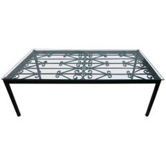 French Iron Coffee Table with Glass Top