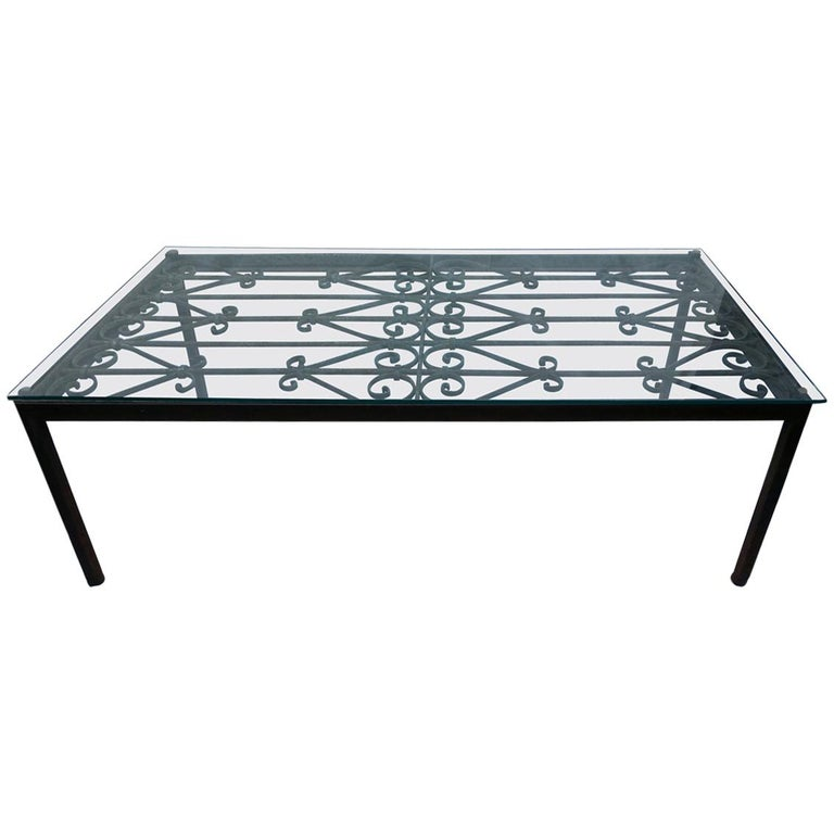 French Iron Coffee Table with Glass Top For Sale