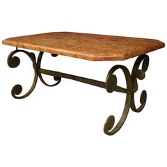 French Iron Coffee Table with Marble Top, 20th Century