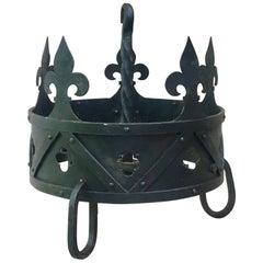 French Iron Crown Fleur-de-lis Pot Rack, circa 1930