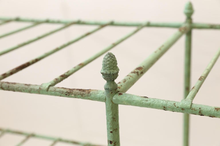 19th Century French Iron Étagère Painted in Pale Green For Sale