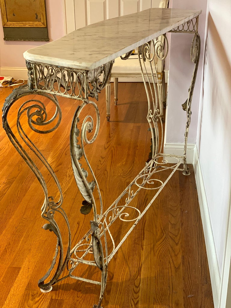 French Iron & Gilded Louis XV Style White Painted Console with Marble Top For Sale 6