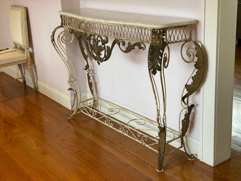 French iron & gilded Louis XV style white painted console with marble top