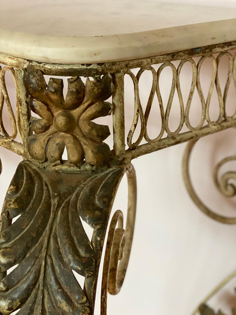 French Iron & Gilded Louis XV Style White Painted Console with Marble Top For Sale 1