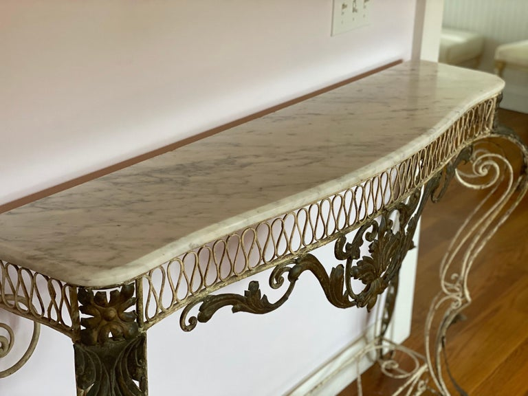 French Iron & Gilded Louis XV Style White Painted Console with Marble Top For Sale 3