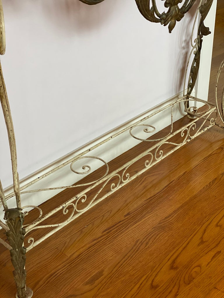 French Iron & Gilded Louis XV Style White Painted Console with Marble Top For Sale 5