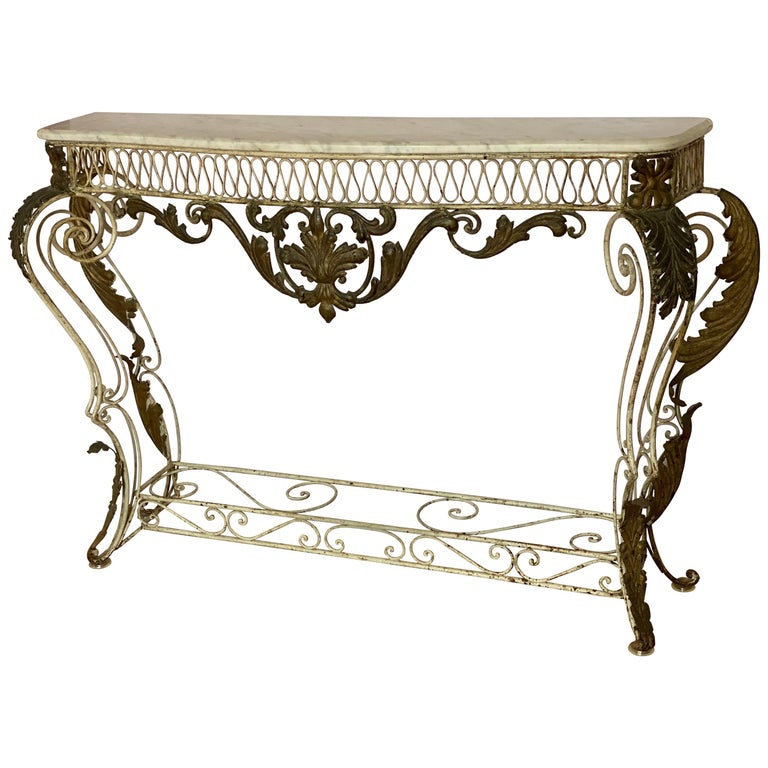French Iron & Gilded Louis XV Style White Painted Console with Marble Top For Sale