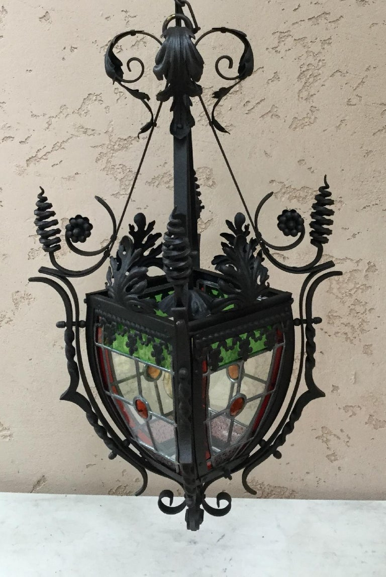 French iron lantern with colorful stained glass, circa 1880 (Napoleon III)