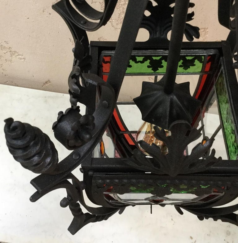 French Iron Neo-Gothic Lantern with Stained Glass, circa 1880 In Good Condition For Sale In The Hills, TX