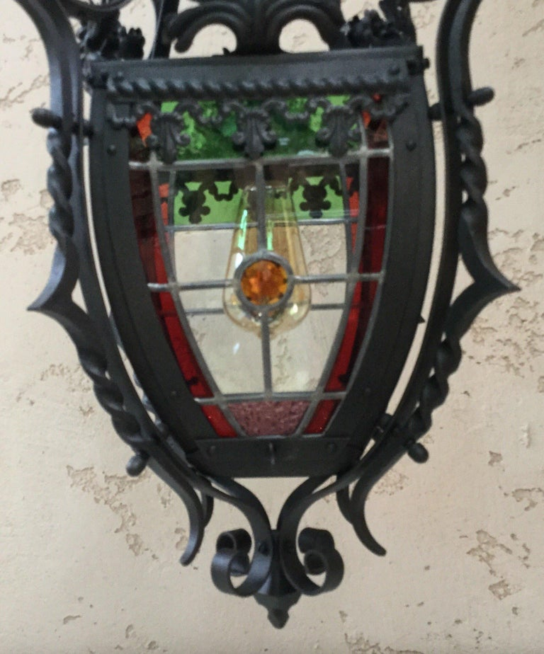 Late 19th Century French Iron Neo-Gothic Lantern with Stained Glass, circa 1880 For Sale