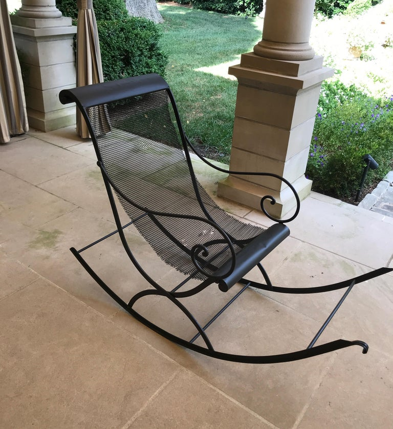 French Iron Rocking Chair with Mesh Sling Seat and Scroll Arms For Sale 6