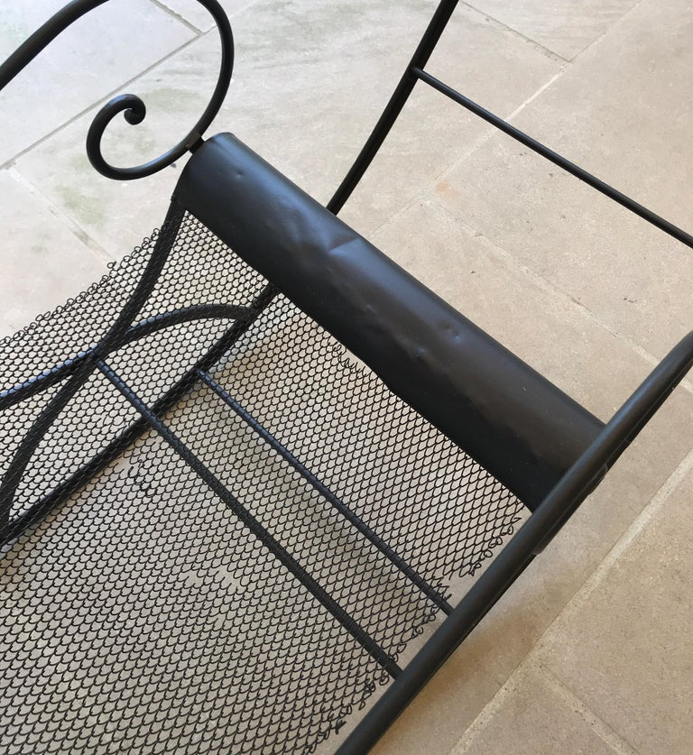 French Iron Rocking Chair with Mesh Sling Seat and Scroll Arms For Sale 7