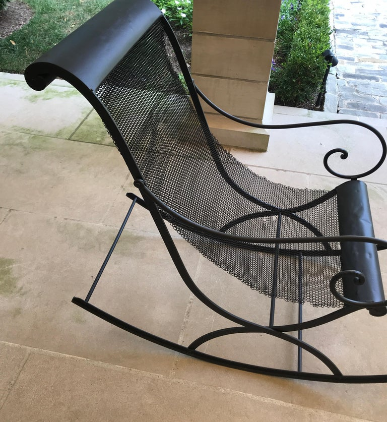 French Iron Rocking Chair with Mesh Sling Seat and Scroll Arms For Sale 9