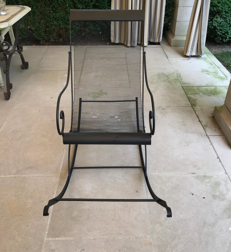 French Iron Rocking Chair with Mesh Sling Seat and Scroll Arms In Good Condition For Sale In Nashville, TN