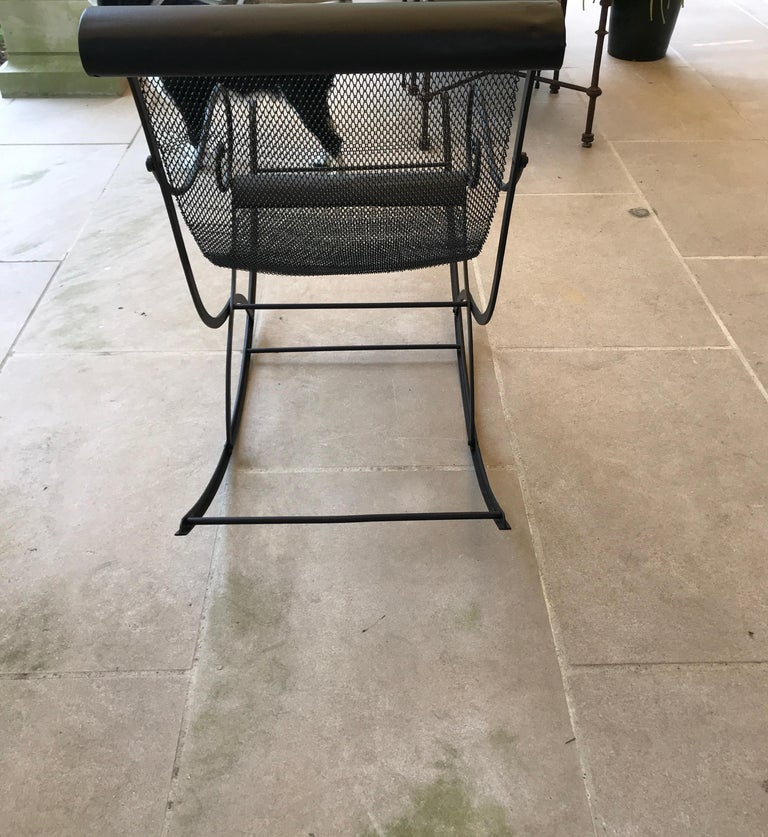 20th Century French Iron Rocking Chair with Mesh Sling Seat and Scroll Arms For Sale